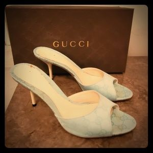 GUCCI Sea Blue Mule Sandals